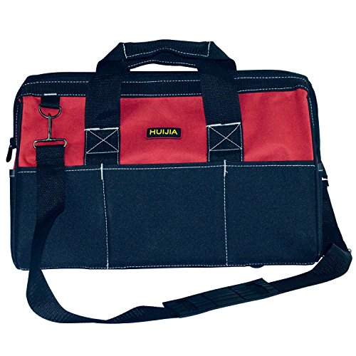 Tool Bag Combo 18'', Zip-Top, Wide Open Mouth Storage Black and Red (L:17.7''X11''X7.9'') by HUIJIA