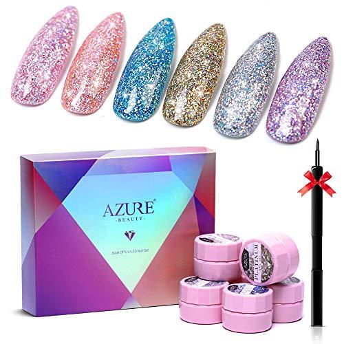 Azure Beauty Glitter Gel Nail Polish 6 Colors Set + Painting Pen, Super Shiny Platinum Gel Polish Soak Off UV LED Nail Gel Nail Art 5ML