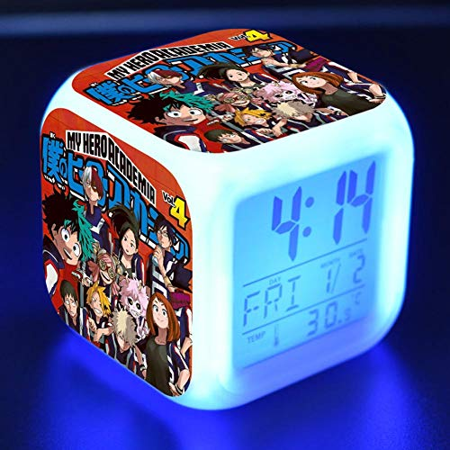 Bowinr My Hero Academia Alarm Clock, 7 Colored LED Digital Illuminated Wake Up Alarm Clock with Time, Alarm, Date, Day of The Week, Batteries Operated(Style 06) ()