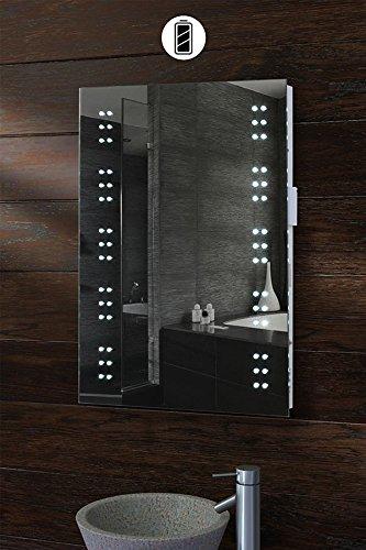Badezimmer Spiegel mit LED-Beleuchtung, batteriebetrieben: Amazon ...