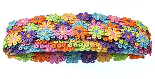 Fabric Sewing Trim - RayLineDo 15 Yards Colorful Flower DIY Lace Applique Sewing Craft Lace Edge Trim Ribbon Edging Trimmings Fabric Embroidery Polyester for Wedding Dresses Embellishment DIY Party Decor Clothes