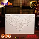 Doris Home wedding invitations wedding invites invitations cards wedding invitations kit 100pcs White Classic Style Wedding Invitations Cards with Rhinestone & Laser Cut Flower,CW3129