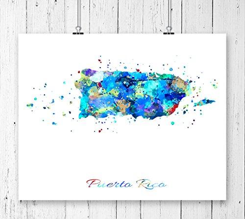 Puerto Rico Map Art Print, Watercolor Art Print, Archival Art Print,Wall Decor,Wall Art, Watercolor Art, Office Decor ( (Puerto Rico Water)
