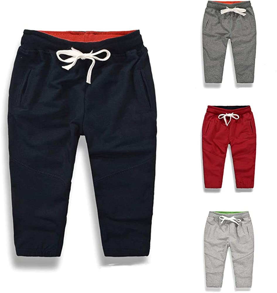Toddler Baby Boys Girls Cotton Casual Sports Pants Unisex Elastic Waist Active Jogger Sweatpants Trousers Bottoms
