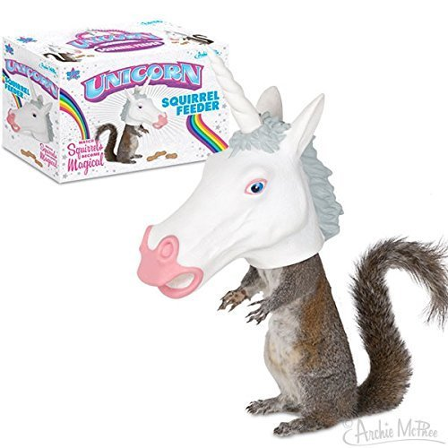 Unicorn Horse Head Squirrel Feeder and Food - Ready to Hang - Let the Fun Begin