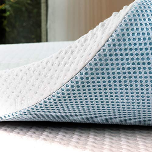 subrtex 4 Inch Gel-Infused Memory Foam Bed Mattress Topper High Density Cooling Pad Removable Fitted Bamboo Cover Ventilated Design-10 Years Warranty (Full)