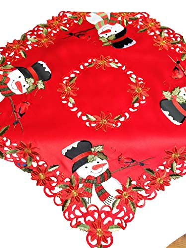 - Jamie's Arts Red Christmas Applique Big Cute Snowman & Embroidered Cardinal Table Topper 34x34 Inch / 85x85 cm