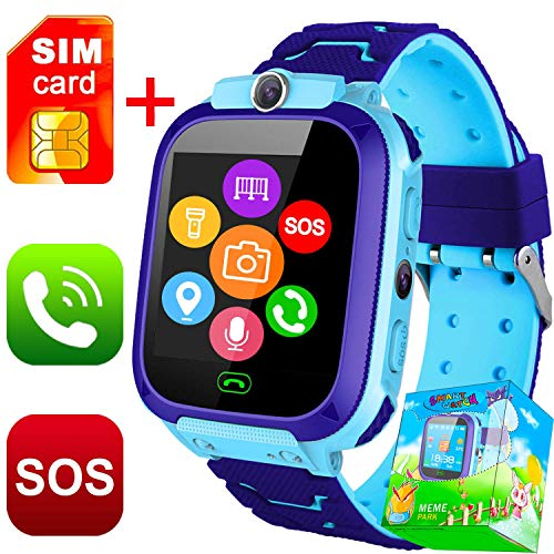 GBD Personal GPS Tracker Watch for Kids,Real-Time GPS Locator Tracking Device for Kids,Boys,Girls,Toddlers,Kids Smartwatch Phone with SIM Card SOS Full Touch WiFi Camera Games (03 Blue)