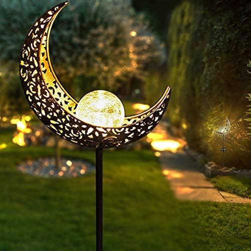 Apissada Solar-Garden-Lights Moon Crackle Glass Globe Garden Decor-Outdoor Waterproof Garden Decorative Stake Light for Pathway, Patio, Lawn Yard 1 Pack