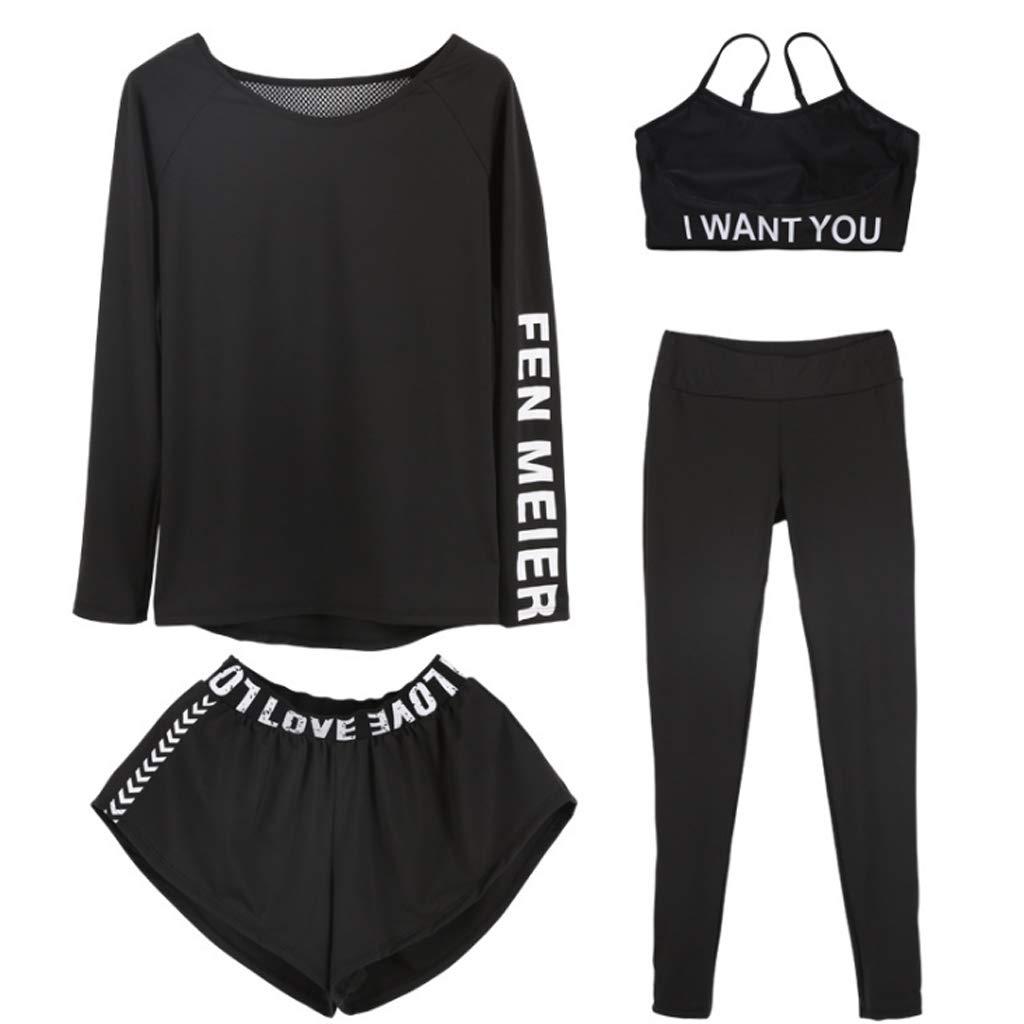 Lilongjiao Damen Yoga Kleidung langärmeliger Sportanzug Schnell trocknend Fitness Laufbekleidung Hose Shorts Sport-BH