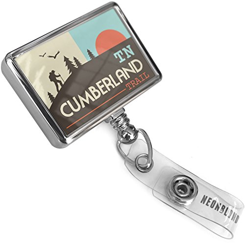Retractable Plastic ID Badge Reel US Hiking Trails Cumberland Trail - Tennessee with Bulldog Belt Clip On Holder Neonblond - Cumberland Trail