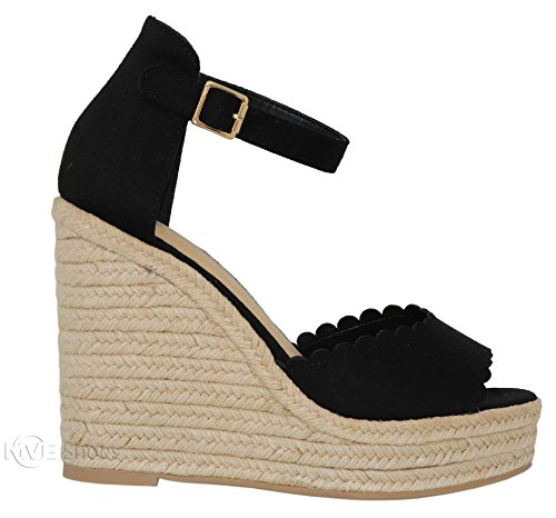 71d3faa44e7 MVE Shoes Women s Casual Peep Toe Ankle Strap Sandals - Cute Summer  Espadrilles High Platforms -
