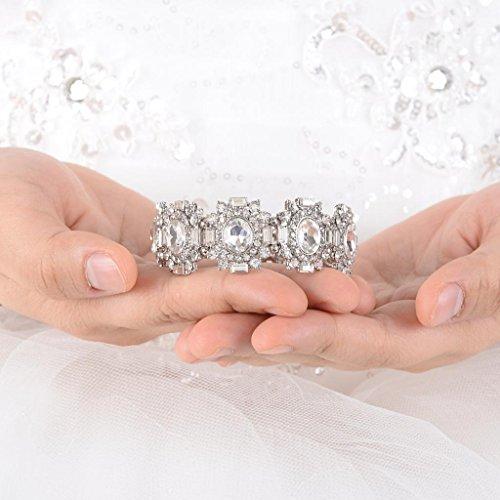 EVER FAITH Art Deco Crown Bridal Stretch Bracelet Clear Austrian Crystal Silver-Tone