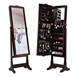 LANGRIA 10 LEDs Lockable Carved Jewelry Armoire Cabinet Free-Standing with Full-Length Mirror with 5 Shelves, Additional Mirror Inside, Brown
