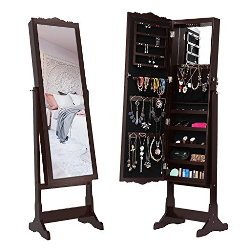 LANGRIA 10 LEDs Lockable Carved Jewelry Armoire Cabinet Free-Standing with Full-Length Mirror with 5 Shelves, Additional Mirror Inside, - Mirror Brown Black