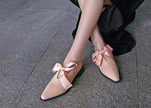 Cruzadas Zapatos Mujer Tama Rosado de Planos Rosa Talla Zapatos Punta Negro Correas de 40 o Color 34 35 Cuadrada fqIqpwr