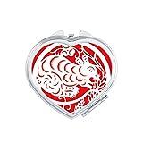 DIYthinker Paper-cut Rat Animal China Zodiac Art Heart Compact Makeup Mirror Portable Cute Hand Pocket Mirrors Gift