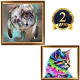 2 Pack DIY 5D Diamond Painting Kits, Full Diamond Animal Resin Cross Stitch Kit, Crystals Rhinestone Embroidery Arts Craft Supply for Home Wall Decor (Cats and Wolves)