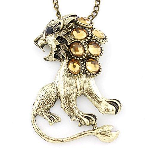 Gorgeous Gold-tone Yellow Crystal Lion Pendant -