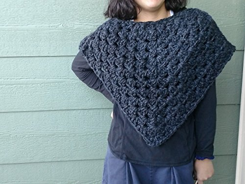 Crocheted Grey Poncho, one size fits all.