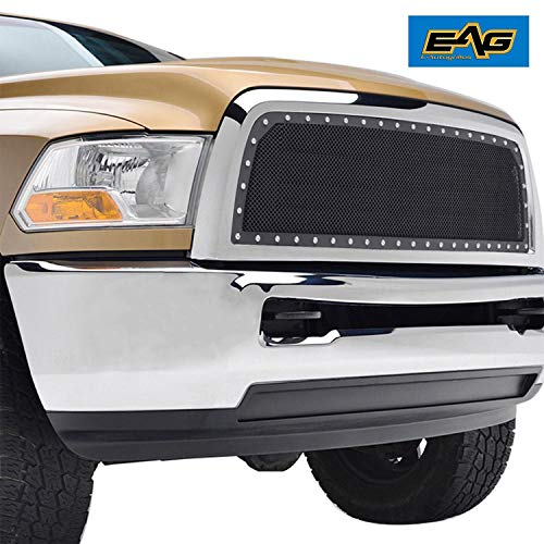 (EAG Black SS Wire Mesh Replacement with Chrome Shell for 13-18 Dodge Ram 2500/3500)
