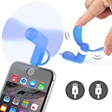ONX3® (BLUE) NOKIA LUMIA 720 Mobile Cell Phone Portable Pocket Sized Fan Accessory 2 in 1 Connector For Android Micro USB and IOS iPhone