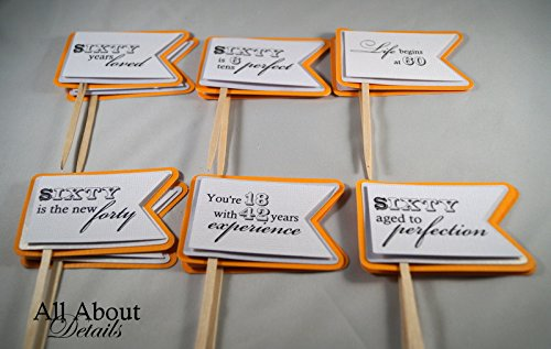 All About Details Melon Orange 60th Birthday Quotes Cupcake Toppers, Set of 12 by All About Details (Image #2)
