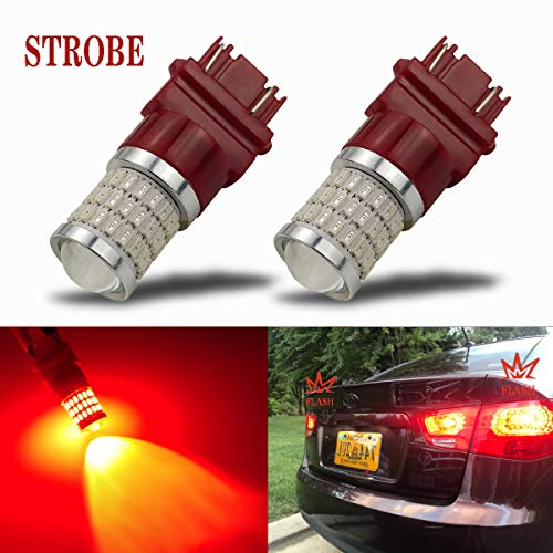 iBrightstar Newest 9-30V Flashing Strobe Blinking Brake Lights 3157 3057 3156 3056 LED Bulbs with Projector replacement for Tail Brake Stop Lights, Brilliant Red ()
