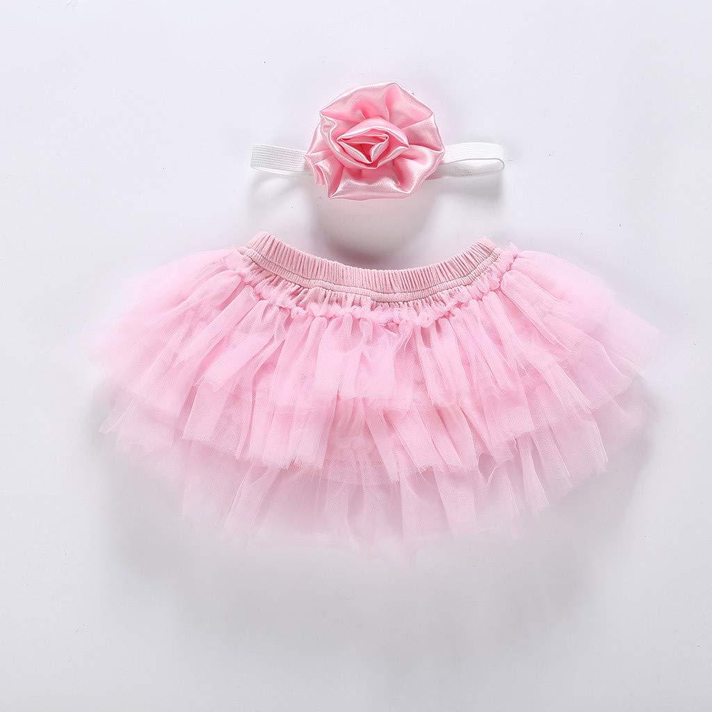 NIHAI 2PCS Girls Baby Kids Solid Bowknot Mesh Gauze Skirt Tutu Casual Party Princess Dresses+Flower Head Knot Suit
