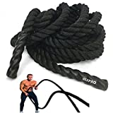 "NEXPro Battle Rope Polydac Undulation Rope Exercise Fitness Training - 1.5"" Width Avail. in 30ft, 40ft, 50ft Length Black (50 Ft. Length)"