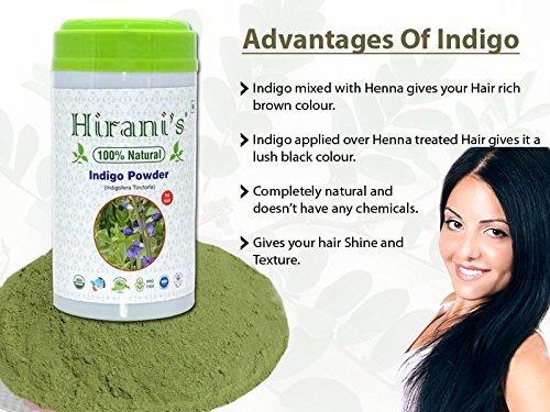 100% Natural Indigo Powder for Hair Color 227 / 0.5 LB (Indigofera Tinctoria) by Hirani's (Image #3)