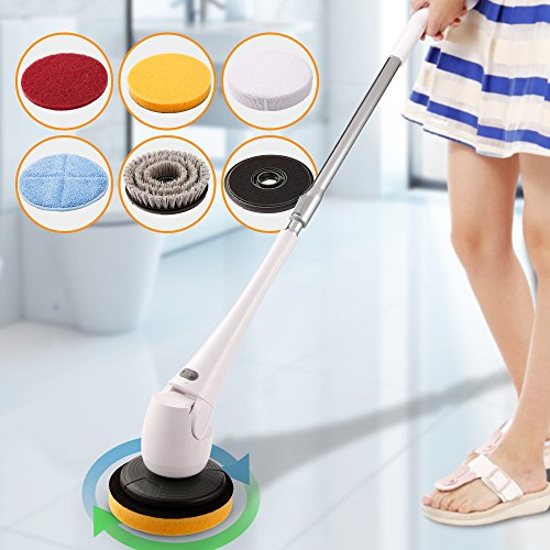 COOCHEER Spin Scrubber-Cordless Telescopic Power Tub and Tile Scrubber Cleaner for for Bath Toilet Floor Wall Window Car Surface Cleaning- No Bending-With 5 Interchangeable Brushes (Upgrade, White) by COOCHEER