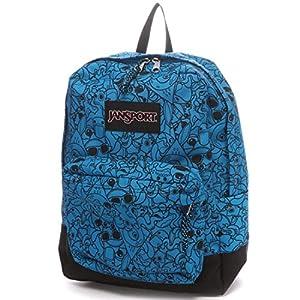 Jansport Blacklabel Superbreak Backpack (Blue Rat N Cat Doodle)