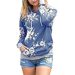 Coutgo Woman's Fashion Striped Long Sleeve Patchwork Floral Print Pullover Hoodie Sweatshirts (S, Blue)