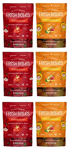 Fresh Bellies Toddler Snacks Variety 6 pack, Two to Mango & Pepperlicious (3 of each)