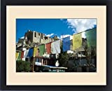 Framed Print of India, Ladakh, Leh, prayer flags with Leh palace in background