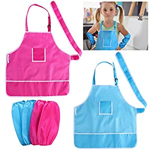 NUOLUX Kids Waterproof Art Aprons and Oversleeves Set Children Painting Aprons with Pockets Pack of 2 (Blue and Rose Red)