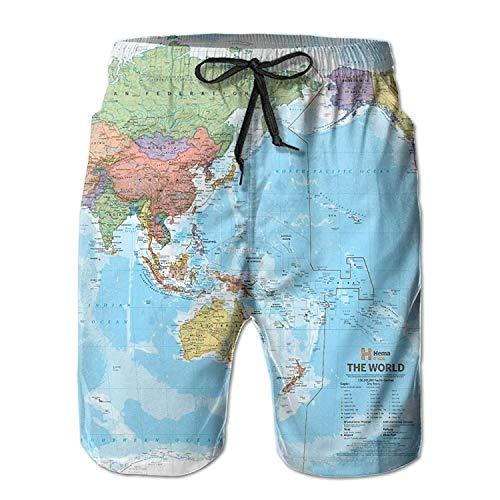 - MHKLTA World Political Map Men's/Boys Casual Quick-Drying Bath Suits Elastic Waist Beach Pants with Pockets, Shorts Size L