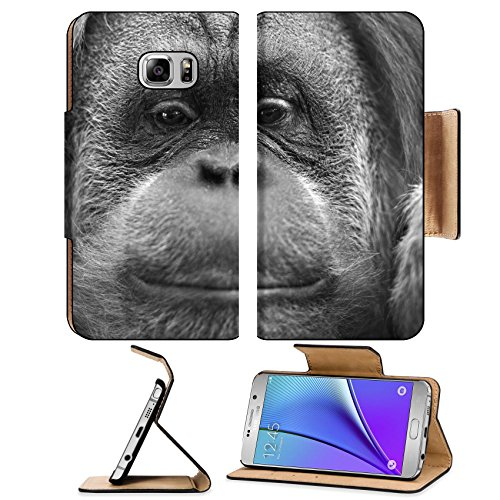 Msd Premium Samsung Galaxy Note 5 Flip Pu Leather Wallet Case Orang Utan Monkey Portrait While Looking At Yuo 33721268