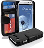 Cadorabo - Book Style Wallet Design for > Samsung Galaxy S3 (I9300) < with 3 Card Slots and Money Pouch - Etui Case Cover Protection in OXID-BLACK