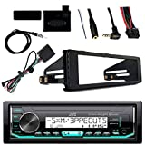 JVC Marine Radio Stereo Bluetooth Receiver Bundle with Adapter Install Dash Kit, Handle Bar Control, Enrock Wire Antenna For 1998-13 Harley Davidson Motorcycle Touring Flht Flhx Flhtc