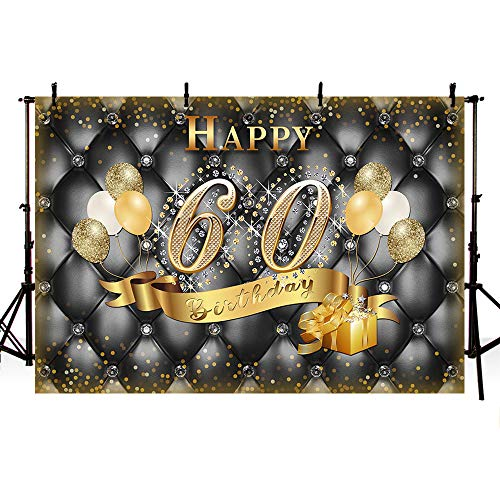 MEHOFOTO Glitter Diamond Headboard 60th Birthday Banner Photo Studio Booth Background Black and Adult 60th Happy Birthday Party Decoration Gift Balloons Backdrops for Photography -