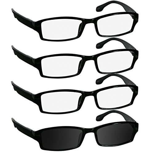 Reading Glasses 2.5 3 Black 1 Sun Black Fashion Readers for Men & Women - Spring Arms & Dura-Tight Screws Have a Stylish Look and Crystal Clear Vision When You Need It! (Arms Mens Sunglasses)