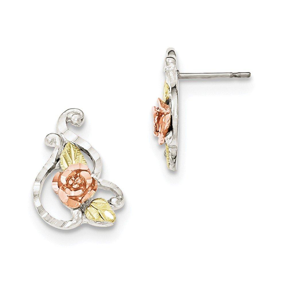 Sterling Silver & 12k Flower Post Earrings