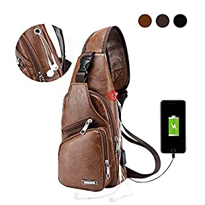 Large Men's Leather Sling Bag Chest Shoulder Backpack Water waterproof Crossbody Bag with USB Charging Port for Travel, Hiking,Cycling (Large Light Brown) 28