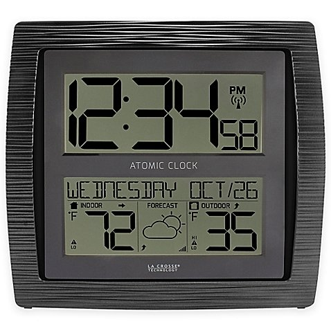 Curved Atomic Wall Clock with In/Outdoor Temperature in Black