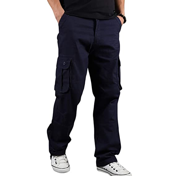 Sidiou Group Pantalon Casual pour Hommes Combinaison en Coton à Poches  Multiples Pantalon Ample Taille Plus Pantalon de Travail extérieur pour  Homme  ... 7d7f1366d4b