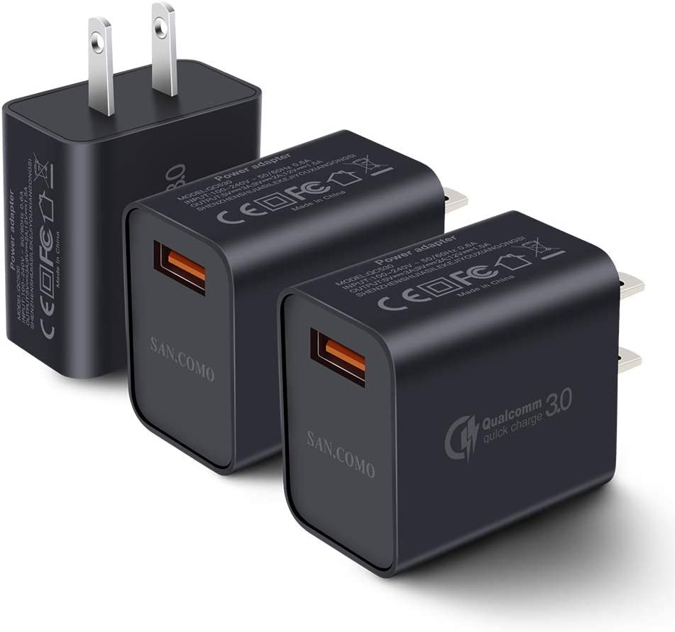 [3-Pack] Quick Charge 3.0 Wall Charger,18W QC 3.0 USB Wall Charger Adapter Fast Charging Block Compatible Wireless Charger Compatible with Samsung Galaxy S10 S9 S8 Plus S7 S6 Edge Note 9, LG, Kindle