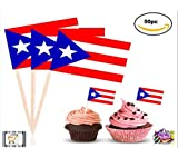 TopStuffsz- 50Pc Proud Puerto Rican Topper Flag, Colorful Flag Cake,Cupcake,Deserts,Cold or Hot Typical Dishes, Toppers Picks for Decorations (Puerto Rico)