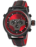 Red Requiem Shark Series Dual Time Zone Analog Date Day Men's Black Leather Sport Wrist Watch SH207